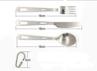 Wholesale Pure titanium camping three piece cutlery steak knife and fork spoon super light never rust safety and health