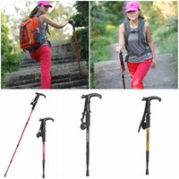 Cheap High Quality T Shape Adjustable Alloy Telescopic Trekking Hiking Walking Stick Pole Foldable With Compass Mix Colors Choose QAE