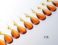 almond planting - 10 Tawny Almond Drop Crystal Prisms Lighting Pendant Parts Glass Lamp Chandelier Wedding decor