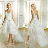 Wholesale Alluring High Low Short Wedding Dresses Scoop Tulle Appliques Sleeveless Graceful Lace up Low Back Charming Asymmetrical Bridal Gowns