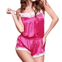 Wholesale Lowest price Retail Fashion Summer Sexy Women Backless Chiffon Lace Lingerie Jumpsuits Strap Sleepwear Pajamas Set Blue Rose Nightgown