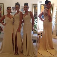 Wholesale New Brazil Bridesmaid Dresses Sweet heart Cover Sheer Back Side Slit Mermaid Lace Applique Beaded Gorgeous Long Maid of Honor Dress