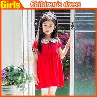 Cheap Doll Collar Summer Baby Girls Clothes Dresses Korean 2015 Kids Clothing Short Sleeve Dress Children Dress