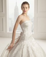 Wholesale 2014 Elegant bateau A line court train backless sleeveless lace bow ribbing wedding dressesGH445