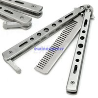 Wholesale Balisong Butterfly Knife Stainless Steel Practice Training Butterfly Balisong Style Knife Comb Cool Sport Styling Tools
