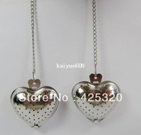 Wholesale Stainless steel tea infusers strainer balls filters with chains Heart shape