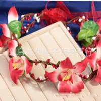 Wholesale Bridal jewelry accessories hair ornaments red garland headdress