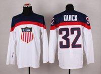 Cheap 2014 Sochi Olympic Team USA Hockey Jersey #32 Jonathan Quick White Ice Hockey Jerseys
