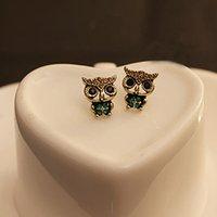 Wholesale Hot Jewelry Lady Fashion Owl Rhinestone Gold Plated Cute Vintage Ear Stud Earrings