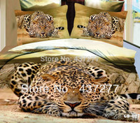 Wholesale Manly d leopard animal print queen size cotton bedspread bedding sets pc duvet bed cover flat sheet comforter set textile