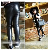 winter leggings - 2014 Winter Children Thicken Warm Leggings Girl Fashion PU Leather Splicing Leggings Children Thick Pants Girl Leggings G18C80
