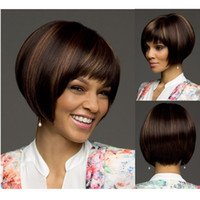 Wholesale Fantastic nice piano color black and blonde short straight bob synthetic hair wigs for black women