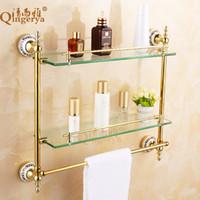 Wholesale Clean and elegant bathroom Glass bathroom shelf cosmetics shelf European antique bathroom accessories
