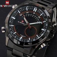 Wholesale 2015 Aliexpress NAVIFORCE Luxury Brand Full Steel Watch Men Quartz Waterproof Watch Men Sports Watch Analog Digital LED Watch