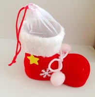 big christmas boot - Big Christmas Decorations Flocking Boots Socks Creative Gift Box of Candy Decorative Supplies TY1659