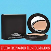 compact powder makeup - 1PCs Brand Makeup Studio Fix Powder cake Plus Foundation compact foundat face powder puffs g
