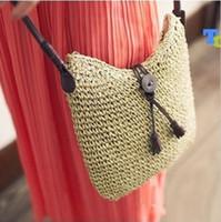 beach artworks - 2015 women messenger Shoulder bag hand beach bag New arrival hand woven tassel woven grass female handbag tote