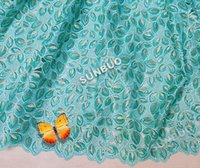 aqua sequin fabric - High Quality Aqua Gold Lurex embroidered organza handcut lace African Swiss lace fabric with of sequins yards pc