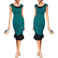 Wholesale S5Q Women s Flouncing Dresses Slim Lotus Leaf Skirt Cocktail Party Evening Bodycon Evening Vintage Skirt AAAECS