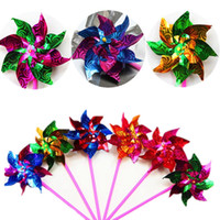 Wholesale 10pcs bag Windmill Spinner Pinwheel Whirl Colorful Changing Flower Home Garden Yard Decor Supplies