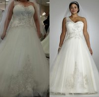 Reference Images bridal dress china - Vestidos De Casamento Plus Size Wedding Dress One Shoulder Custom Sleeveless Corset Back Tulle Appliques Beaded Bridal Gowns China QH