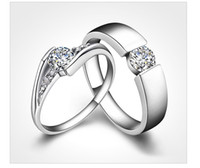 diamond ring - Hot sale couples rings Sterling Silver Rings CT HALO DIAMOND ENGAGEMENT RING WEDDING BAND SET G H EGL USA K