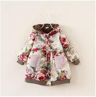 velvet flower - 2014 New Arrival Autumn Winter Children s Outwear Girl s Thickened Velvet Cotton Coat With Printed Flowers and Velvet Pockets