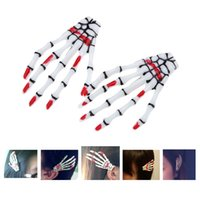 halloween skeleton - 2pcs Halloween Party Zombie Skull Skeleton Hand Bone Claws Hairpin Punk Hair Clips Decoration Accessories W588