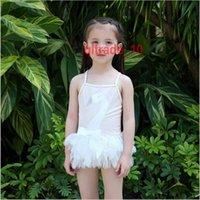 ballet bikini - 10 BBA5643 kids swan swimwear bathing suit swan swimming clothes bowknot beachwear suspender split bikinis tutu lace swimsuits Ballet skirt
