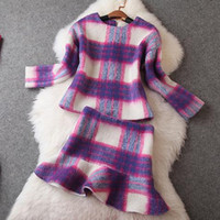 Wholesale Purple Plaid Top and Short Mini Skirt Piece Set Women Skirt Top Womens Winter Suit Women Skirts Top Quality