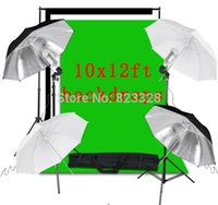 Wholesale Four Umbrella photography studio Kit With x Muslin Backdrop x12 Background Stand video package LK56