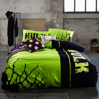 beds - 2015 New Noctilucent Bedding Set Queen Size TC Cotton Duvet Cover Set Flat Sheet Pillow Case The Hulk