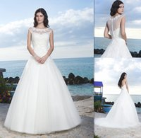 Ball Gown beads on line - 2015 Capped Sleeves Wedding Dresses Ball Gown Sheer Neck White Tulle Robe De Mariee Garden Bridal Gowns On Line Bride Dress For Womens