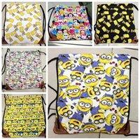 cute drawstring bag - 30PCS LJJH579 New Fashion Despicable Me minions bag tsum KT Backpack canvas drawstring bags Cute cartoon bags Travel bag