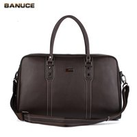 Wholesale Men s Travel Bags Genuine Leather Tote Business Bag Male Briefcase Shouler Bags Lichee Patterns New Brand Lightweight Organizers Brown bag