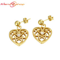 emerald cut diamonds - KE053 A K Yellow Gold Rose Gold Plated Earrings For girl Hollowed Out Heart Setting Brilliant Cut CZ Diamond Earring