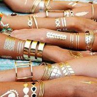 Wholesale Flash Temporary Tattoo Upper Back neck armband Jewelry Arrow strip waterproof Gold Silver fake tattoo body art CE