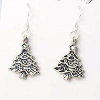 antique metal chandelier - MIC x40 mm Antique Silver Star Metal Christmas Tree Charm Pendant Earrings Silver Fish Ear Hook Dangle Chandelier E743