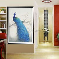 Crystal crystal crosses - Hot D cross stitch diamond embroidery diamond painting round stone peacock for home wall wedding decoration no frame YSH