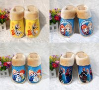 house shoes - 40pair styles Frozen warm shoes winter House Slippers men and women Olaf Elsa Anna plush Cotton slippers TT42313172592 HX