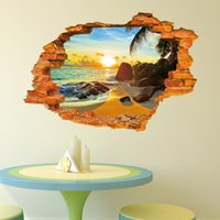 art pictures for kids - 3d Wall Sticker Beach Landscape Window Decal For Home Decoration Art Picture Removable Wall Decals Wall Papers