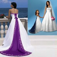 purple and white wedding dress - Excellent Quality Elegant Purple And White Wedding Dresses Strapless Sleeveless Custom Made Court Train Satin Embroidery Bridal Gown VT