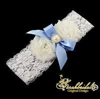 beautiful feminine - Beautiful White Wedding Garters Sexy Feminine Lace Crystals Women Ladys Blue Bow Sheer Vintage Bridal Accessories