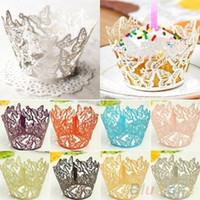 Wholesale 12x Hollow Butterfly Cupcake Muffin Wrapper Wrap Case Wedding Party Liner Decor M8A