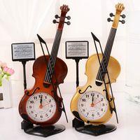 Mechanical antique display tables - 12pcs Kids Lovely Violin Design Table Clocks Classical Style Desk Alarm Bells Bedroom Display Decorations sw315