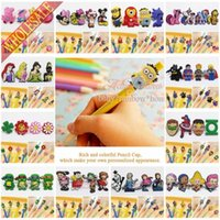 Wholesale Free DHL cartoon PVC pencil caps Minions Mickey Princess Avengers Ninja pencil decoration DIY pen creative gifts kids party gifts