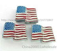 american flag collar - 10pcs mm American flag Slide charms SL166 Fit DIY Name Bracelets Necklace Name Pet collar Key chain Fhone strips Fit mm wide belt