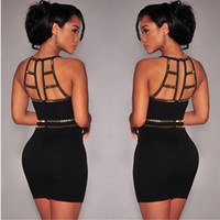 Wholesale 2015 retail sexy fashion Ladies Black Bandage Bodycon Clubwear Party Evening Cocktail Mini Dress high quality