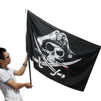 Wholesale Halloween Black Pirate Flags With Grommets Decoration Skull Cross Crossbones Sabres Swords Jolly Roger Banner cm ft