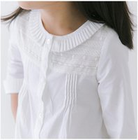 Wholesale Ruffle Turn down Collar Lace Patch Cotton Shirt Base Autumn Baby Girls Long Sleeve Cardigan Kids Clothes White B0665